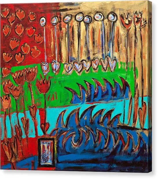 Wild Abstract Garden Canvas Print by Maggis Art