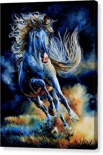 Wild Horse Canvas Print - Wild And Free by Hanne Lore Koehler