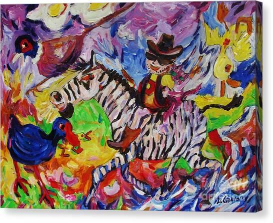 Wild Boy Jimmy On Zeebra Down River Canvas Print
