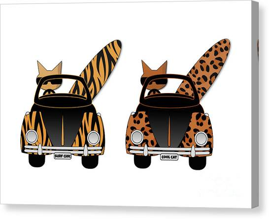 Wild Cats Go Surfing Canvas Print