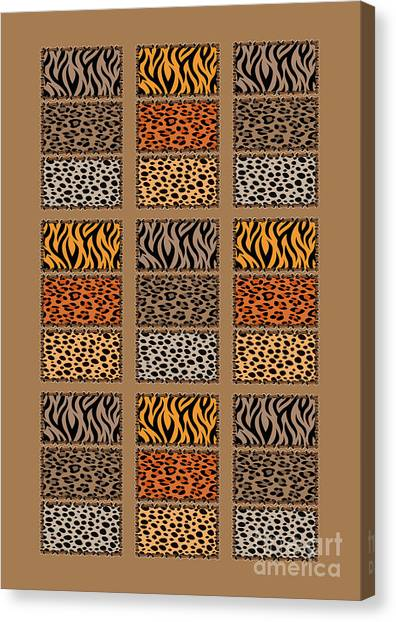 Wild Cats Patchwork Canvas Print