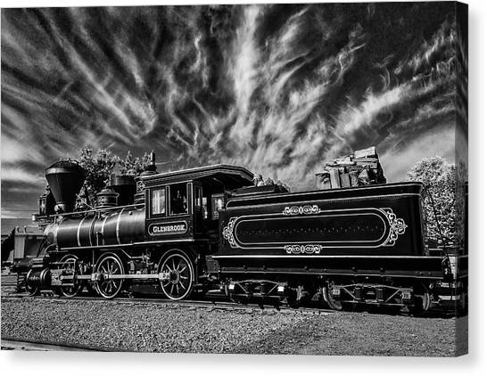 Steam Trains Canvas Print - Wild Clouds Over Old Train by Garry Gay