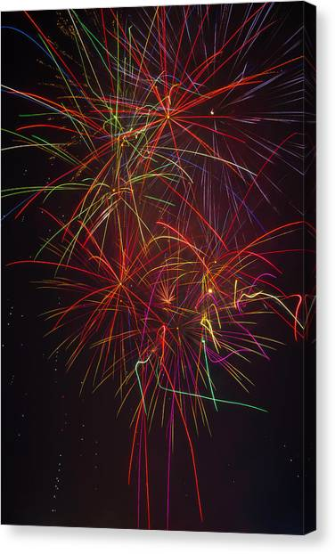 Pyrotechnic Canvas Print - Wild Colorful Fireworks by Garry Gay