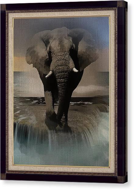 Wild Elephant Montage Canvas Print