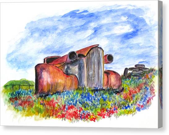 Wild Flower Junk Car Canvas Print