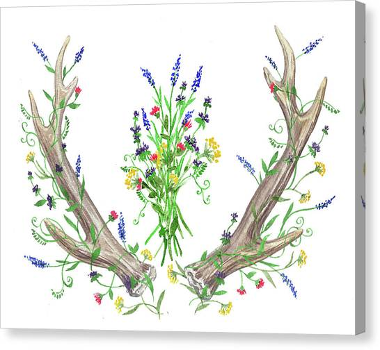 Wedding Bouquet Canvas Print - Wild Flowers And Antlers Watercolor by Irina Sztukowski