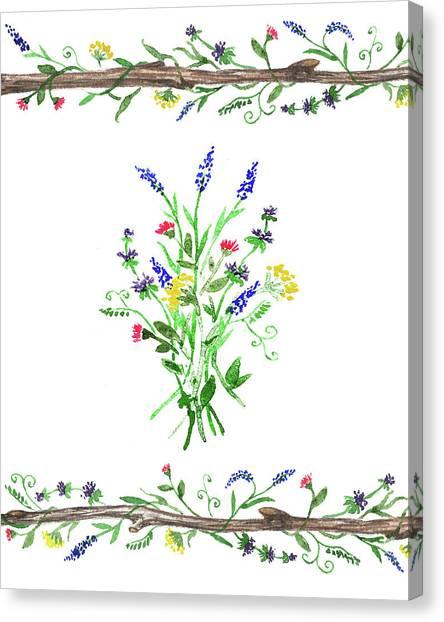 Wedding Bouquet Canvas Print - Wild Flowers Watercolor Design by Irina Sztukowski