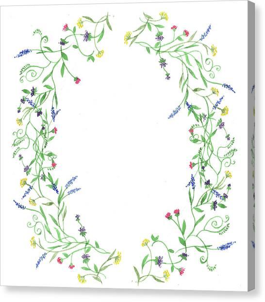 Wedding Bouquet Canvas Print - Wildflowers Wreath Watercolor by Irina Sztukowski