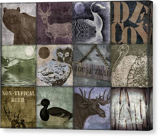 Rustic Canvas Print - Wild Game Patchwork II by Mindy Sommers