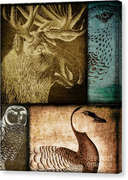 Moose Canvas Print - Wild Game Primitive Patchwork by Mindy Sommers
