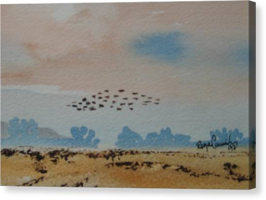 Wild Geese Heading Home. Canvas Print by Roger Cummiskey
