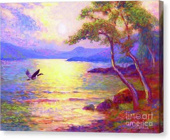 Canada Goose Canvas Print -  Wild Goose, Moon Song by Jane Small