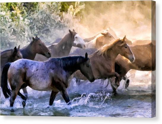 Big West Canvas Print - Wild Herd by Janet Fikar