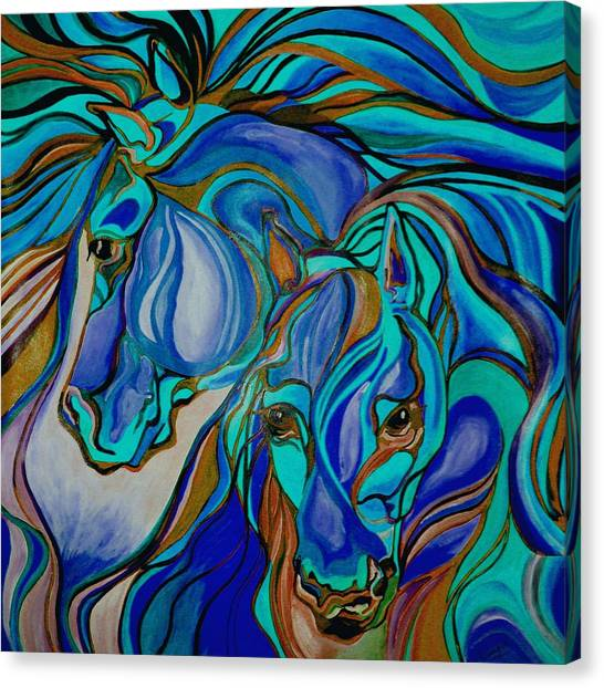 Wild  Horses In Brown And Teal Canvas Print