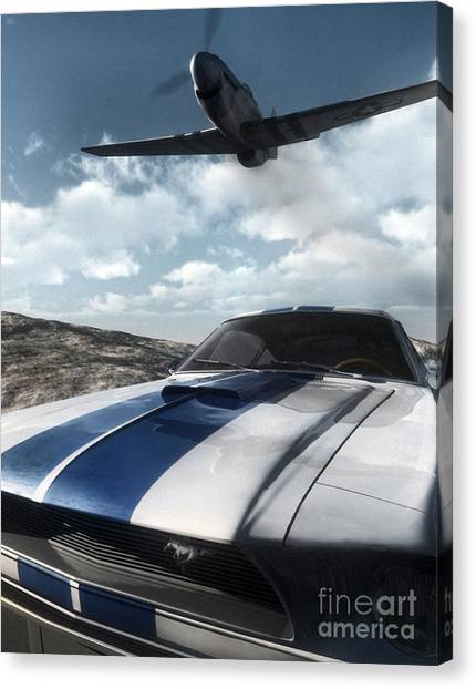 Race Cars Canvas Print - Wild Horses by Richard Rizzo