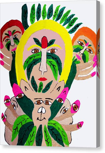 Wild Look Of The Green Plant Lady Canvas Print by Betty  Roberts