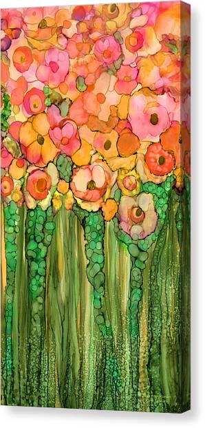 Canvas Print featuring the mixed media Wild Poppy Garden - Gold by Carol Cavalaris