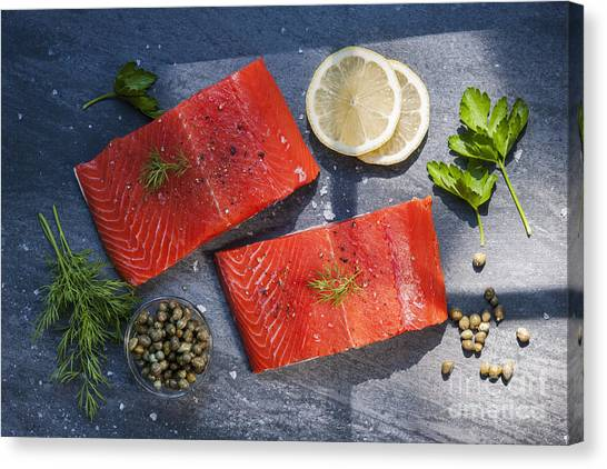 Fillet Canvas Print - Wild Salmon Steaks by Elena Elisseeva