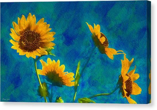 Wild Sunflowers Singing Canvas Print