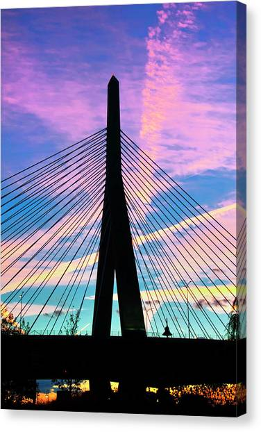 Wild Sunset Over The Zakim Bridge - Boston Canvas Print