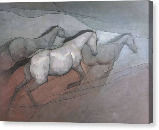 Canvas Print featuring the painting Wild White Horses by Steve Mitchell
