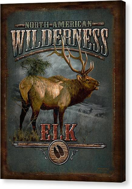 Pine Trees Canvas Print - Wilderness Elk by JQ Licensing