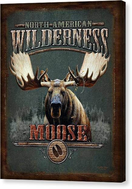 Pine Trees Canvas Print - Wilderness Moose by JQ Licensing