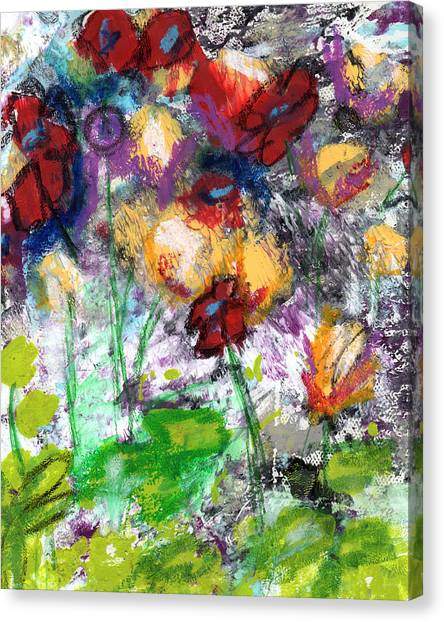 Abstract Expressionist Canvas Print - Wildest Flowers- Art By Linda Woods by Linda Woods