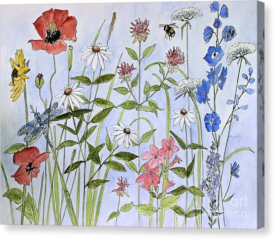 Wildflower And Blue Sky Canvas Print