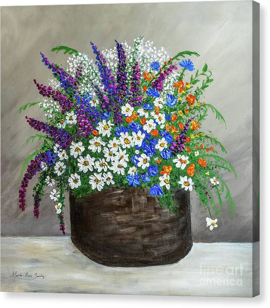 Canvas Print featuring the painting  Wildflower Basket Acrylic Painting A61318 by Mas Art Studio