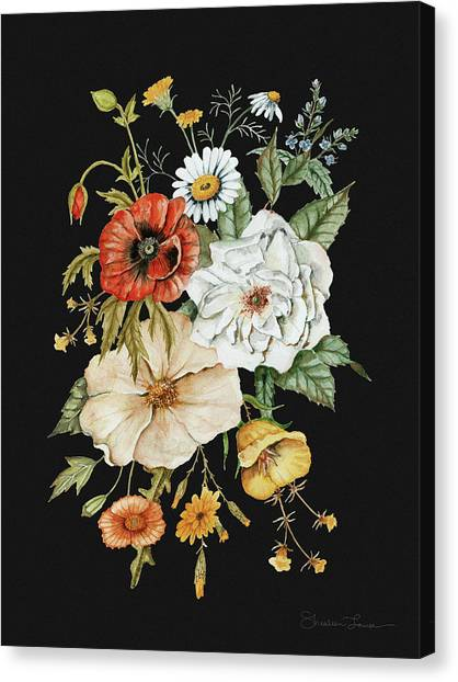 Wedding Bouquet Canvas Print - Wildflower Bouquet On Charcoal Black by Shealeen Louise