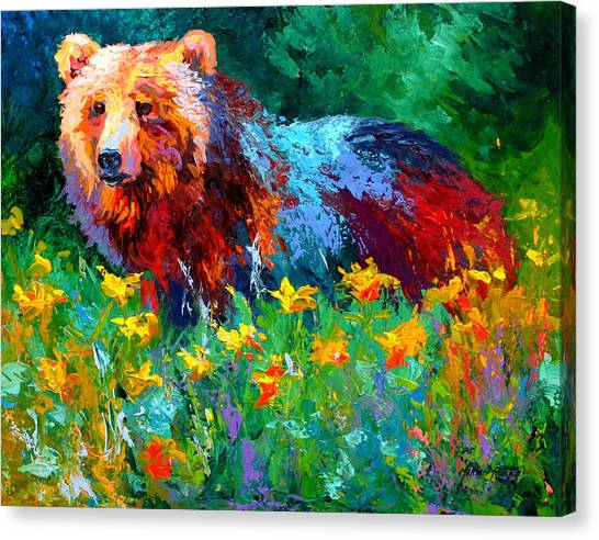 Bears Canvas Print - Wildflower Grizz II by Marion Rose