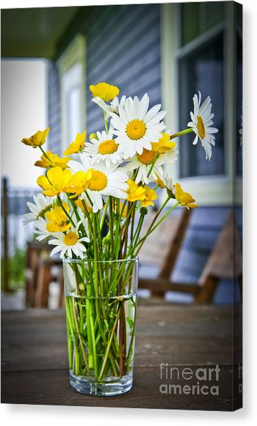 Cabin Window Canvas Print - Wildflowers Bouquet At Cottage by Elena Elisseeva
