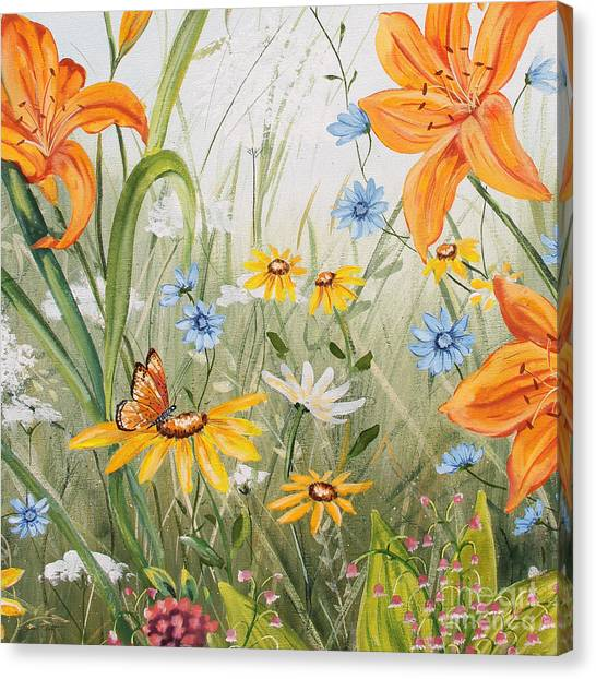 Acrylic On Canvas Print - Wildflowers-jp3254 by Jean Plout