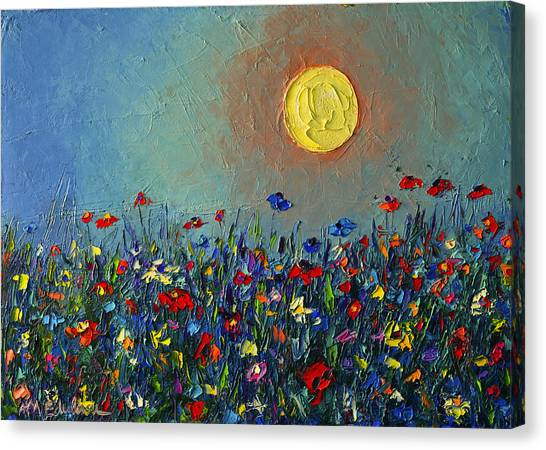 Wildflowers Meadow Sunrise Modern Floral Original Palette Knife Oil Painting By Ana Maria Edulescu Canvas Print
