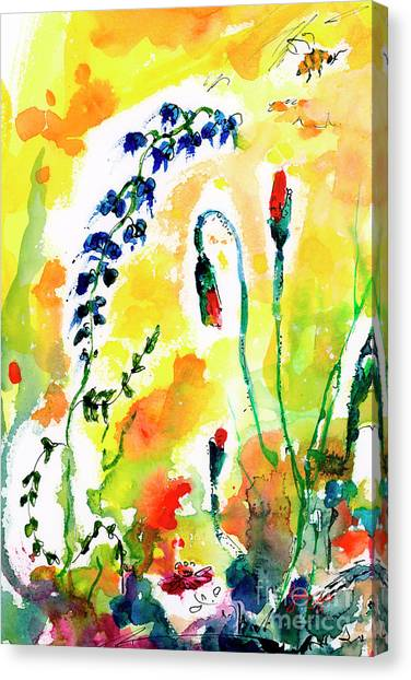 Wildflowers Provence Poppies And Bees Canvas Print
