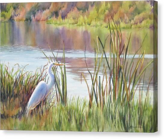 Egrets Canvas Print - Wildlife Refuge by Sue Zimmermann