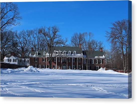 Wildwood Manor House In The Winter Canvas Print