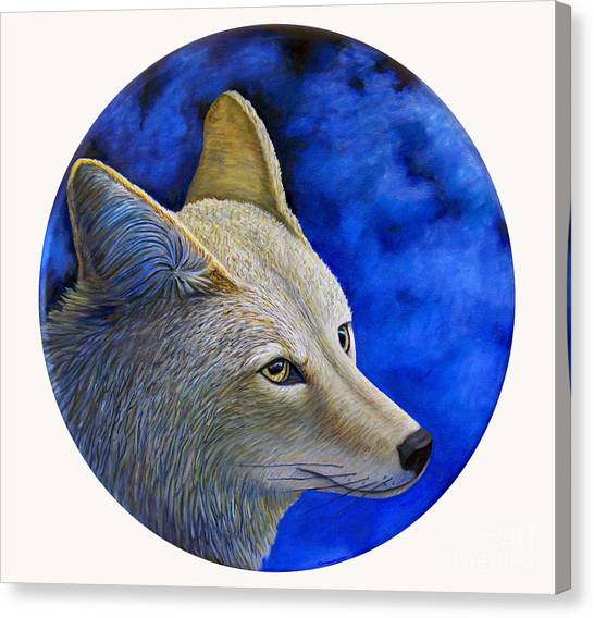 Wolf Moon Canvas Print - Wiley Coyote by Brian  Commerford