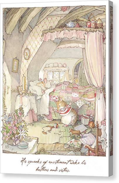 Cakes Canvas Print - Wilfred's Birthday Morning by Brambly Hedge
