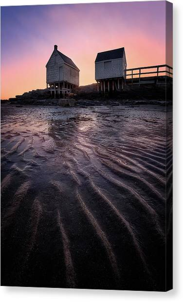Beach Sunrises Canvas Print - Willard Beach At Sunrise by Jeff Bazinet