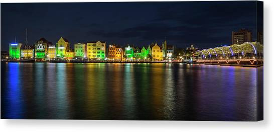Pontoon Canvas Print - Willemstad And Queen Emma Bridge At Night by Adam Romanowicz
