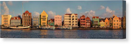Pontoon Canvas Print - Willemstad Curacao Panoramic by Adam Romanowicz