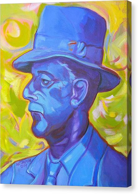 Canvas Print featuring the painting William Faulkner by Jeanette Jarmon