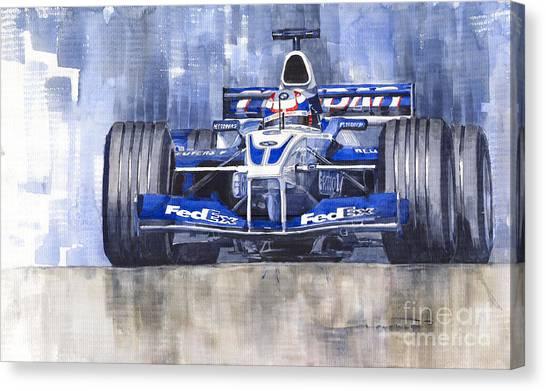 Sports Cars Canvas Print - Williams Bmw Fw24 2002 Juan Pablo Montoya by Yuriy Shevchuk