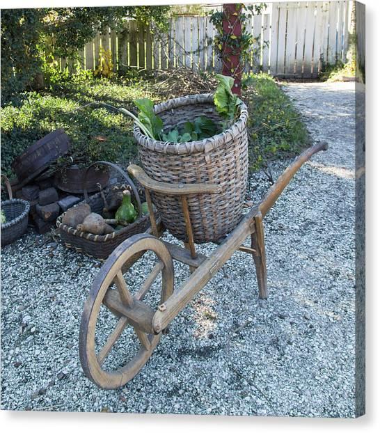 Pavers Canvas Print - Williamsburg Basket Cart by Teresa Mucha
