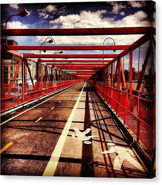 Times Square Canvas Print - Williamsburg Bridge - New York City by Vivienne Gucwa