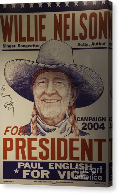 Austin Texas Canvas Print - Willie For President by Bob Hislop