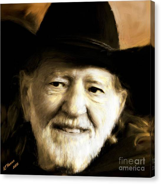 Van Goughs Ear Canvas Print - Willie Nelson by Arne Hansen