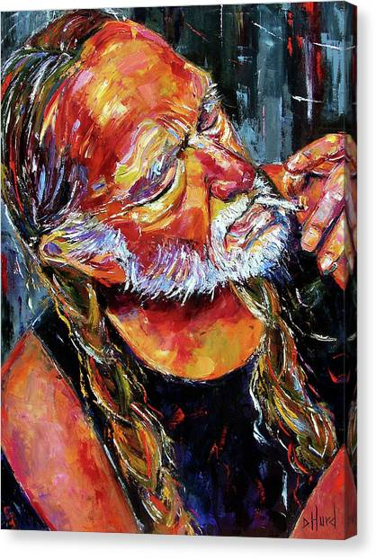 Celebrity Canvas Print - Willie Nelson Booger Red by Debra Hurd